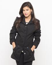 Black Wool Loop Style Coat For Women - Emo-LWB-25527